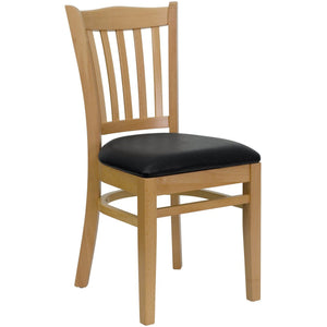 HERCULES Series Vertical Slat Back Natural Wood Restaurant Chair - Black Vinyl Seat