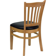 Load image into Gallery viewer, HERCULES Series Vertical Slat Back Natural Wood Restaurant Chair - Black Vinyl Seat