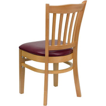 Load image into Gallery viewer, HERCULES Series Vertical Slat Back Natural Wood Restaurant Chair - Burgundy Vinyl Seat