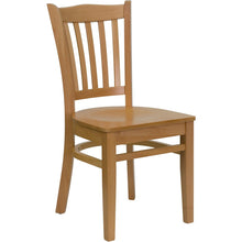 Load image into Gallery viewer, HERCULES Series Vertical Slat Back Natural Wood Restaurant Chair