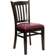 Load image into Gallery viewer, HERCULES Series Vertical Slat Back Walnut Wood Restaurant Chair - Burgundy Vinyl Seat
