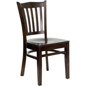 HERCULES Series Vertical Slat Back Walnut Wood Restaurant Chair
