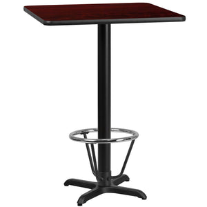 24'' Square Mahogany Laminate Table Top with 22'' x 22'' Bar Height Table Base and Foot Ring