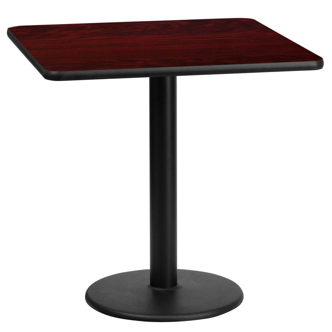 24'' Square Mahogany Laminate Table Top with 18'' Round Table Height Base