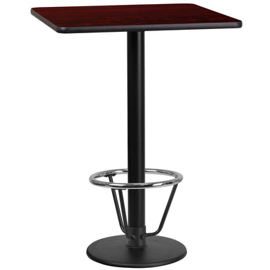 24'' Square Mahogany Laminate Table Top with 18'' Round Bar Height Table Base and Foot Ring