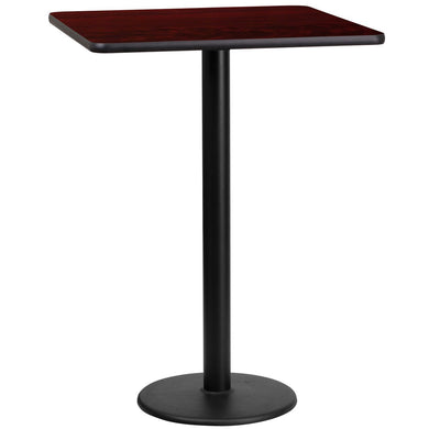 24'' Square Mahogany Laminate Table Top with 18'' Round Bar Height Table Base