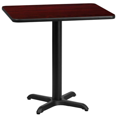 24'' x 30'' Rectangular Mahogany Laminate Table Top with 22'' x 22'' Table Height Base