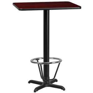 24'' x 30'' Rectangular Mahogany Laminate Table Top with 22'' x 22'' Bar Height Table Base and Foot Ring