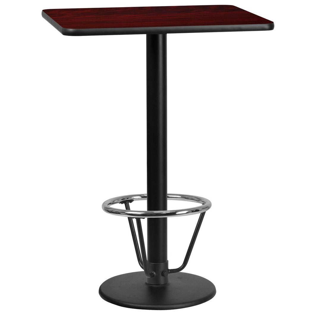 24'' x 30'' Rectangular Mahogany Laminate Table Top with 18'' Round Bar Height Table Base and Foot Ring