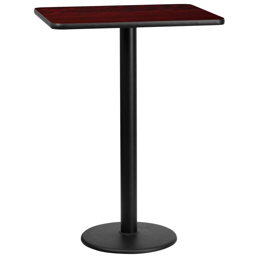 24'' x 30'' Rectangular Mahogany Laminate Table Top with 18'' Round Bar Height Table Base