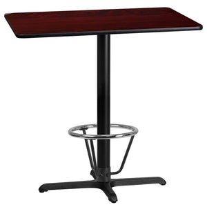 24'' x 42'' Rectangular Mahogany Laminate Table Top with 22'' x 30'' Bar Height Table Base and Foot Ring