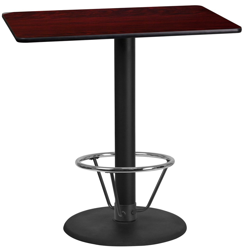 24'' x 42'' Rectangular Mahogany Laminate Table Top with 24'' Round Bar Height Table Base and Foot Ring