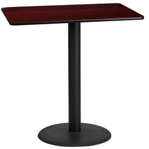 24'' x 42'' Rectangular Mahogany Laminate Table Top with 24'' Round Bar Height Table Base