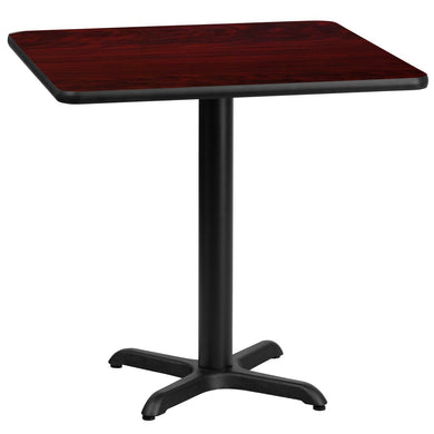 30'' Square Mahogany Laminate Table Top with 22'' x 22'' Table Height Base