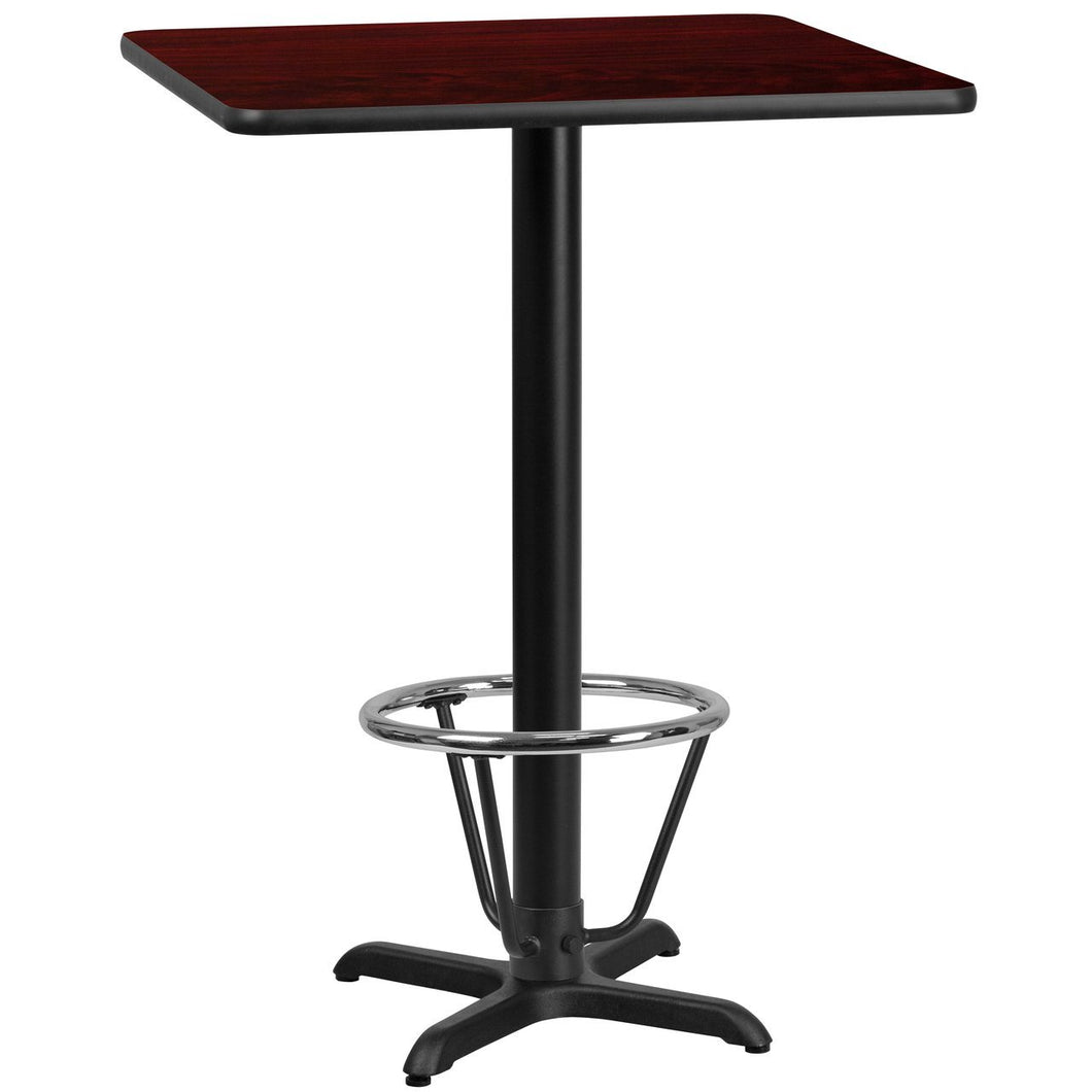 30'' Square Mahogany Laminate Table Top with 22'' x 22'' Bar Height Table Base and Foot Ring