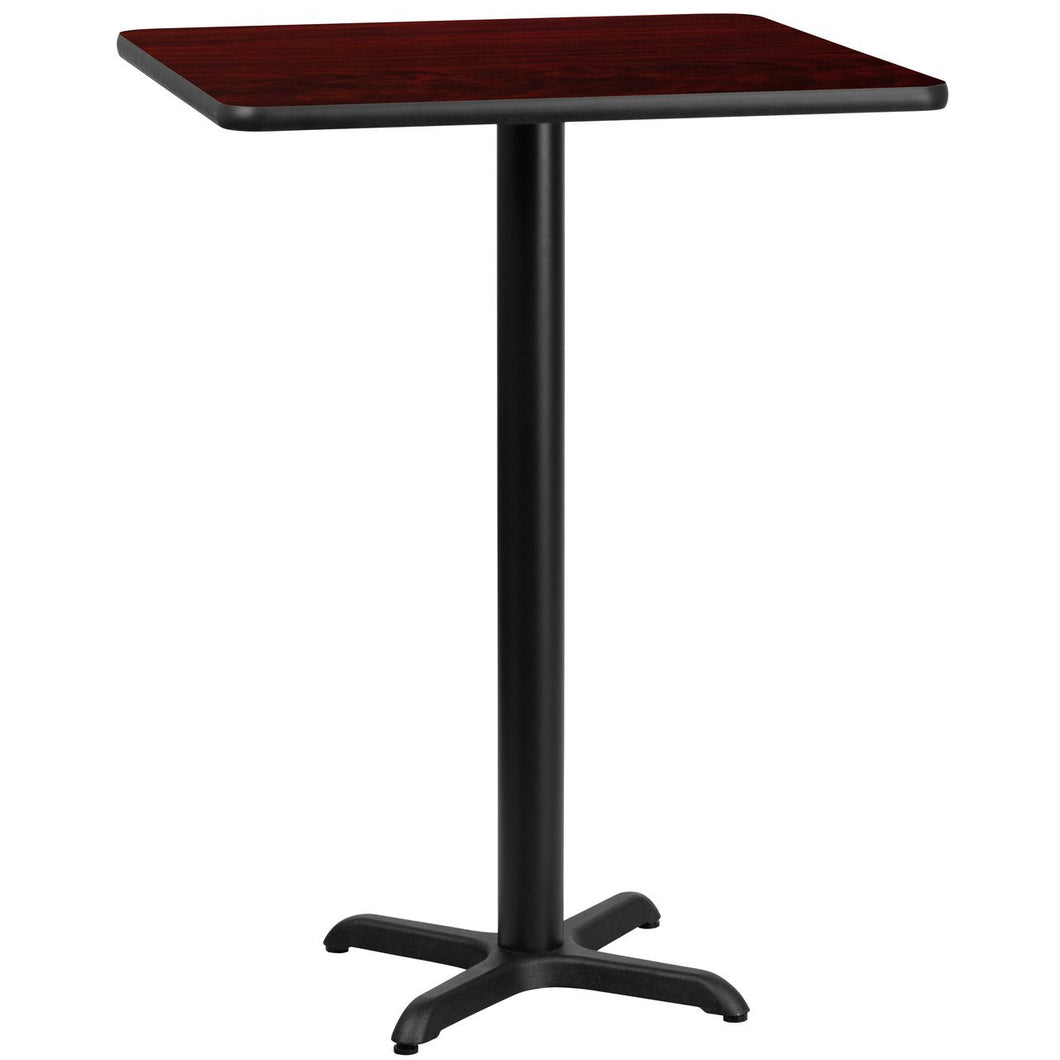 30'' Square Mahogany Laminate Table Top with 22'' x 22'' Bar Height Table Base
