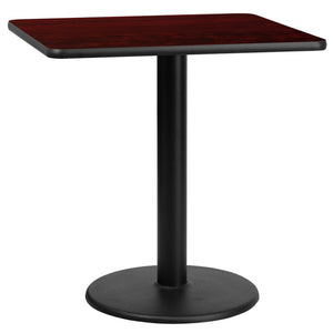 30'' Square Mahogany Laminate Table Top with 18'' Round Table Height Base