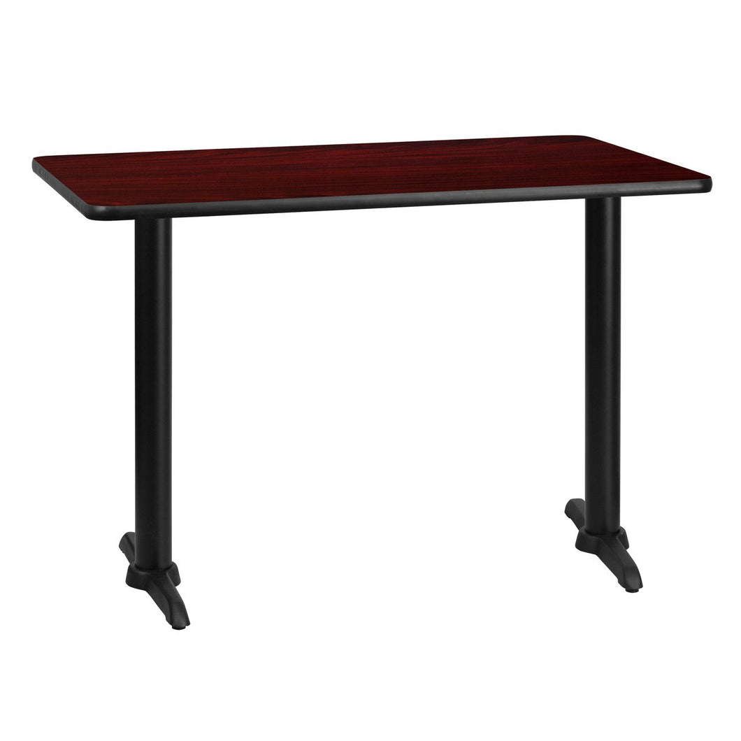 30'' x 42'' Rectangular Mahogany Laminate Table Top with 5'' x 22'' Table Height Bases
