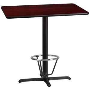 30'' x 42'' Rectangular Mahogany Laminate Table Top with 22'' x 30'' Bar Height Table Base and Foot Ring