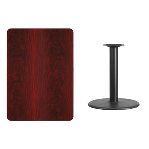 30'' x 42'' Rectangular Mahogany Laminate Table Top with 24'' Round Table Height Base