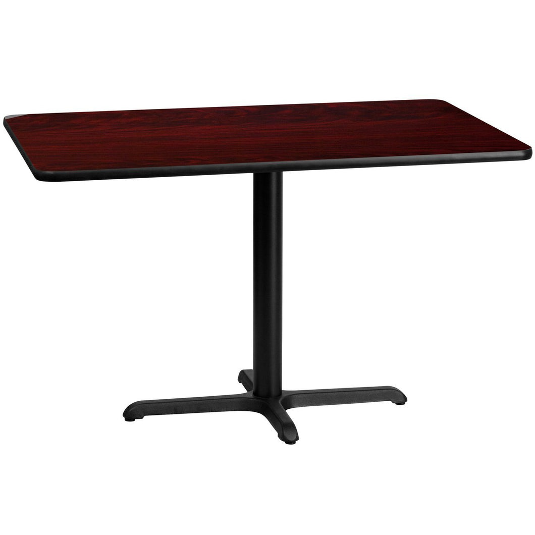 30'' x 48'' Rectangular Mahogany Laminate Table Top with 22'' x 30'' Table Height Base