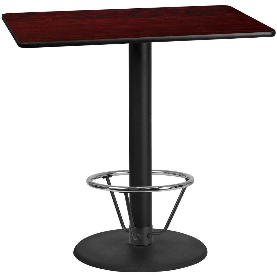 30'' x 48'' Rectangular Mahogany Laminate Table Top with 24'' Round Bar Height Table Base and Foot Ring