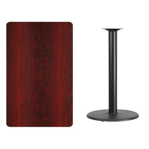 30'' x 48'' Rectangular Mahogany Laminate Table Top with 24'' Round Bar Height Table Base