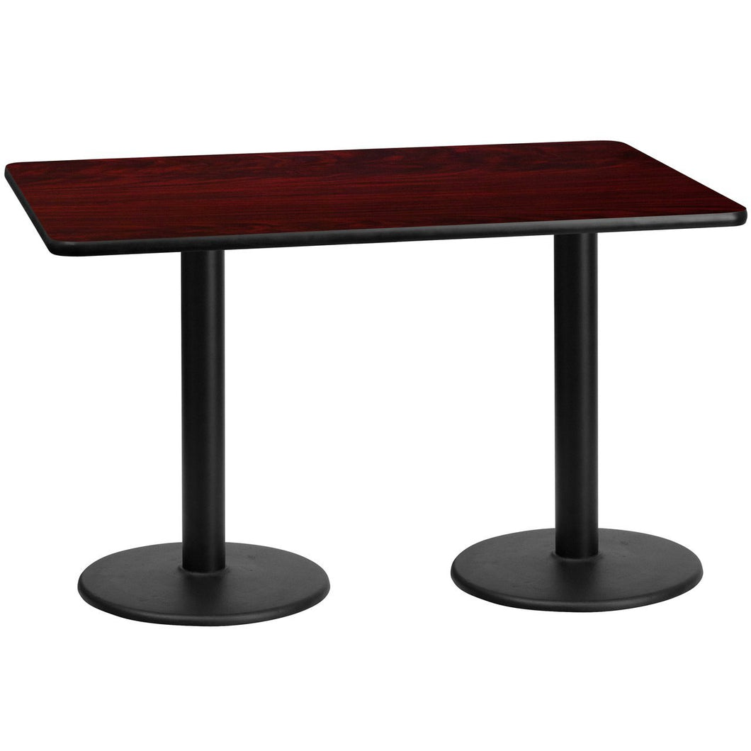 30'' x 60'' Rectangular Mahogany Laminate Table Top with 18'' Round Table Height Bases
