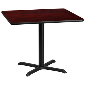 36'' Square Mahogany Laminate Table Top with 30'' x 30'' Table Height Base