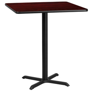 36'' Square Mahogany Laminate Table Top with 30'' x 30'' Bar Height Table Base