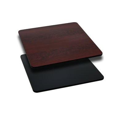 24'' Square Table Top with Black or Mahogany Reversible Laminate Top