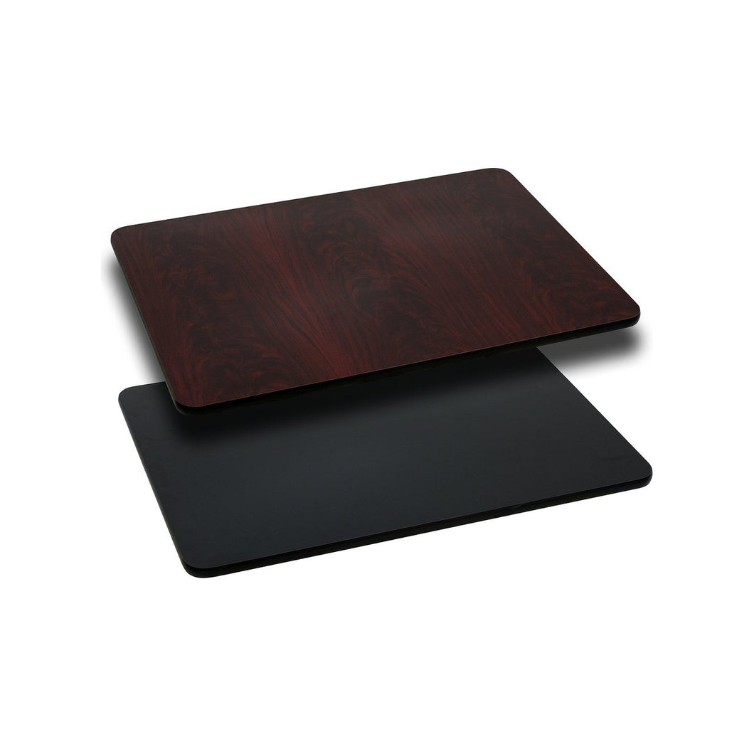 24'' x 30'' Rectangular Table Top with Black or Mahogany Reversible Laminate Top