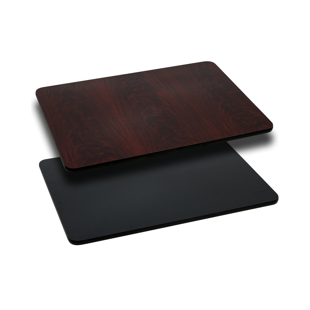 24'' x 42'' Rectangular Table Top with Black or Mahogany Reversible Laminate Top