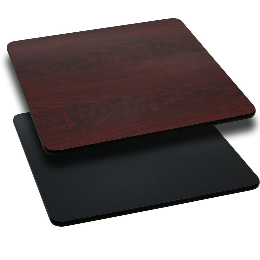 42'' Square Table Top with Black or Mahogany Reversible Laminate Top