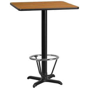 24'' Square Natural Laminate Table Top with 22'' x 22'' Bar Height Table Base and Foot Ring