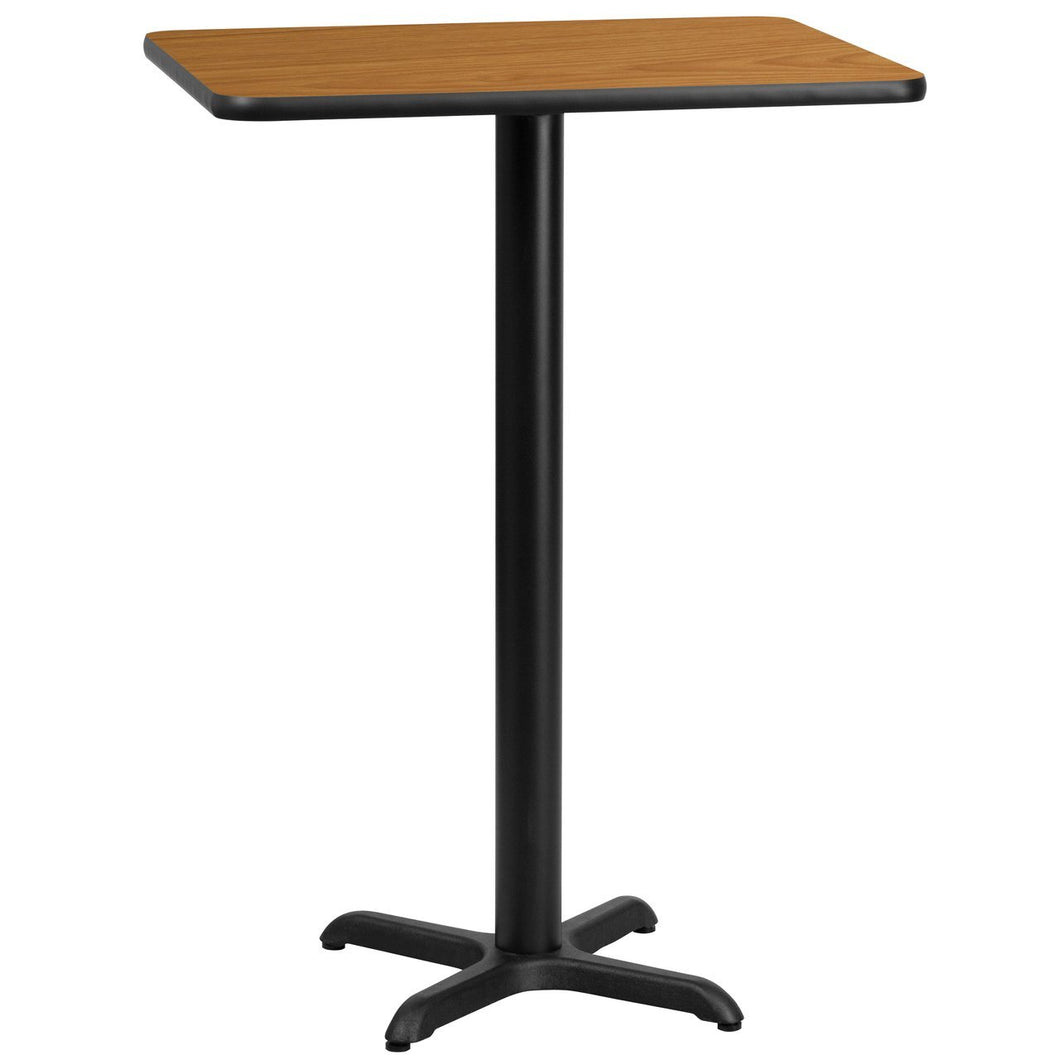 24'' x 30'' Rectangular Natural Laminate Table Top with 22'' x 22'' Bar Height Table Base