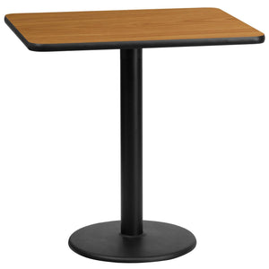 24'' x 30'' Rectangular Natural Laminate Table Top with 18'' Round Table Height Base