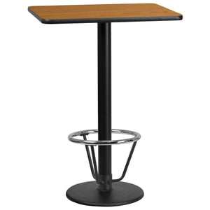 24'' x 30'' Rectangular Natural Laminate Table Top with 18'' Round Bar Height Table Base and Foot Ring