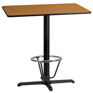 24'' x 42'' Rectangular Natural Laminate Table Top with 22'' x 30'' Bar Height Table Base and Foot Ring