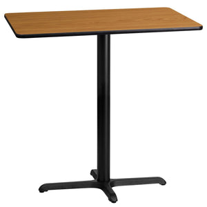 24'' x 42'' Rectangular Natural Laminate Table Top with 22'' x 30'' Bar Height Table Base