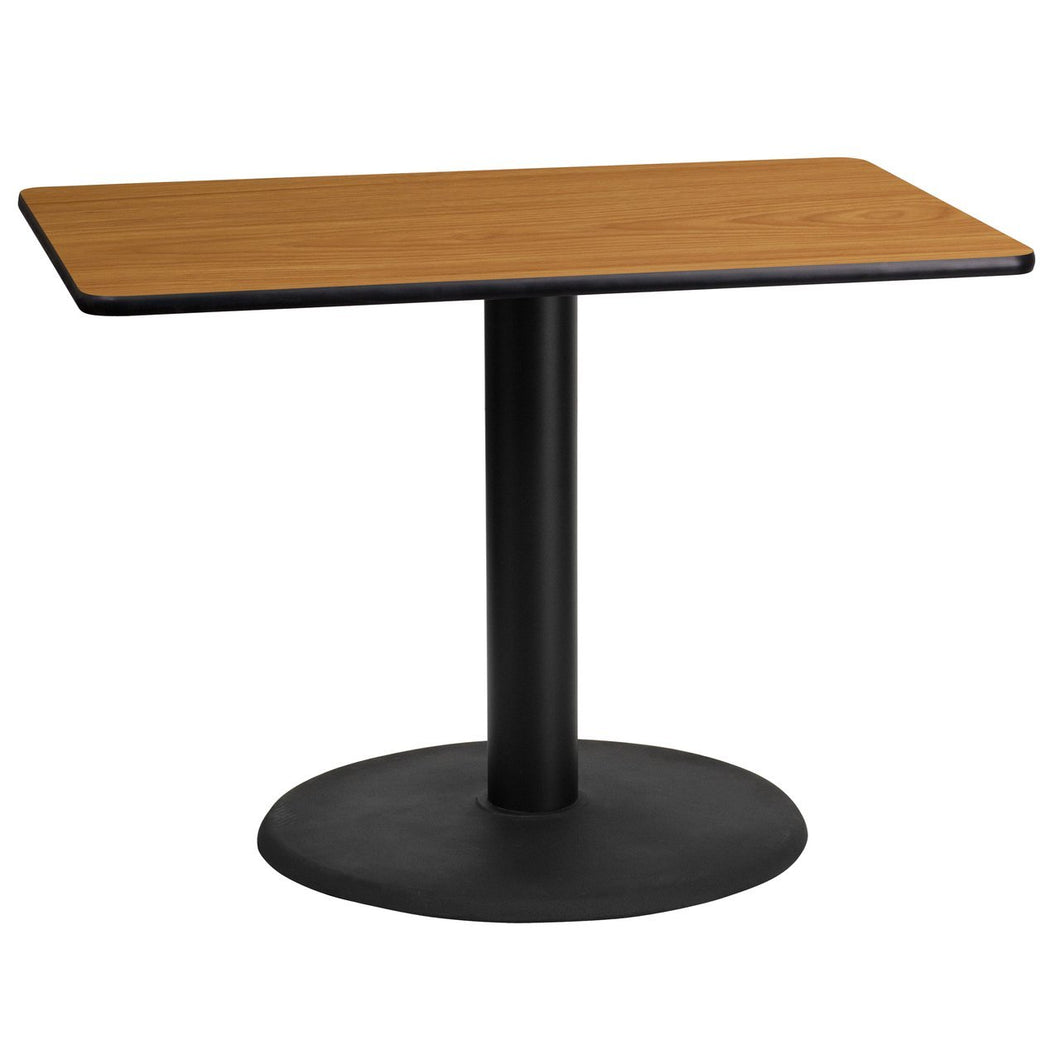 24'' x 42'' Rectangular Natural Laminate Table Top with 24'' Round Table Height Base