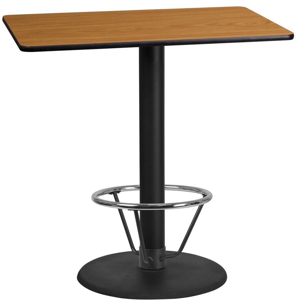 24'' x 42'' Rectangular Natural Laminate Table Top with 24'' Round Bar Height Table Base and Foot Ring