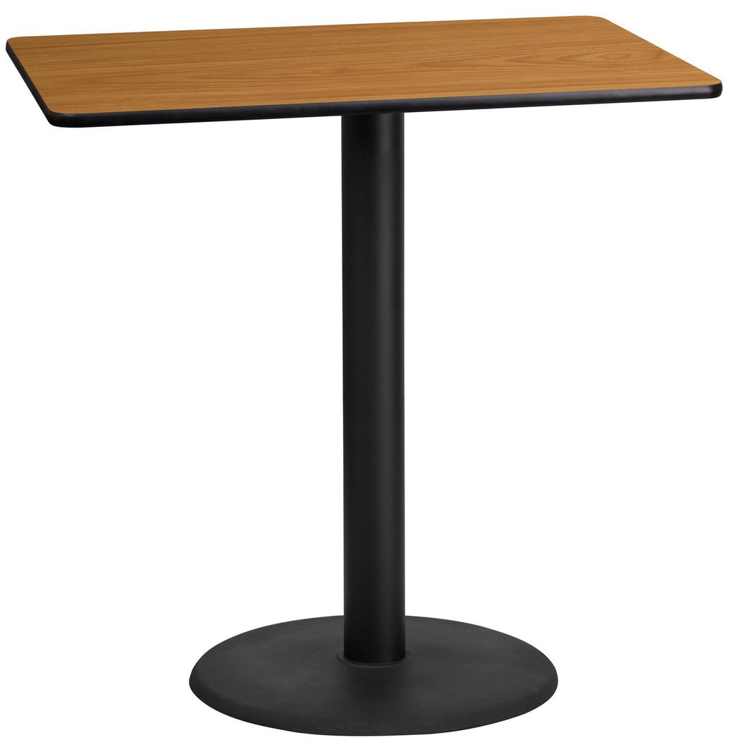 24'' x 42'' Rectangular Natural Laminate Table Top with 24'' Round Bar Height Table Base