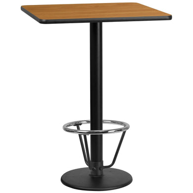 30'' Square Natural Laminate Table Top with 18'' Round Bar Height Table Base and Foot Ring
