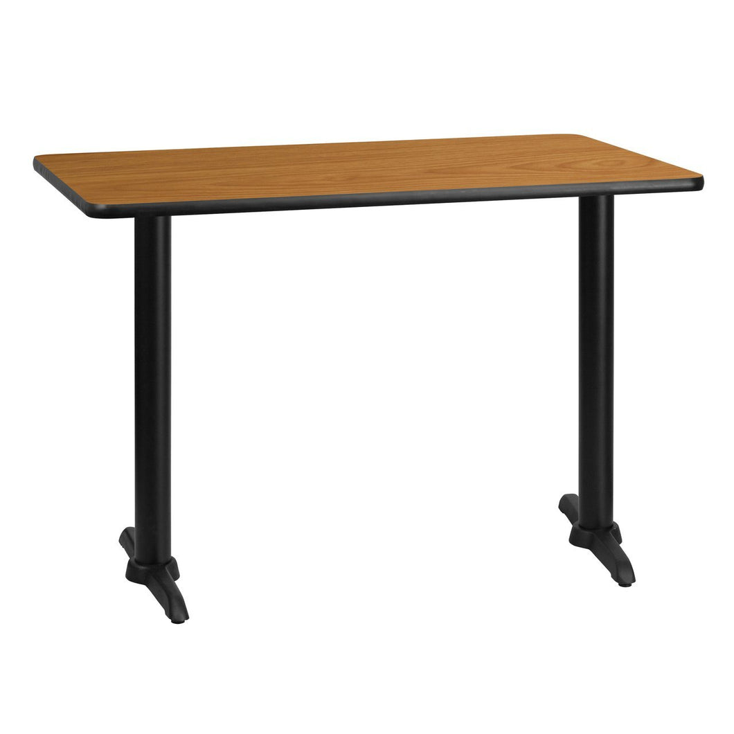 30'' x 42'' Rectangular Natural Laminate Table Top with 5'' x 22'' Table Height Bases