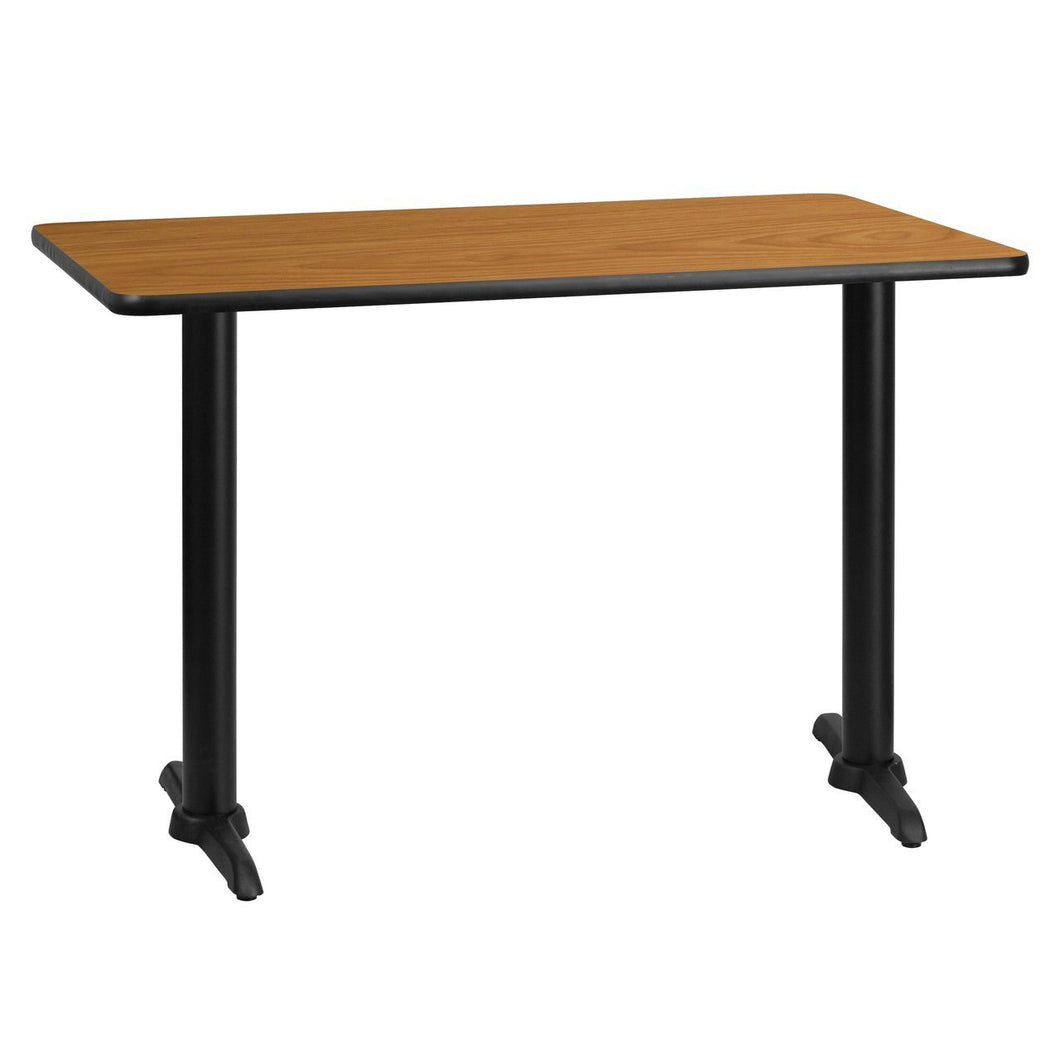 30'' x 45'' Rectangular Natural Laminate Table Top with 5'' x 22'' Table Height Bases