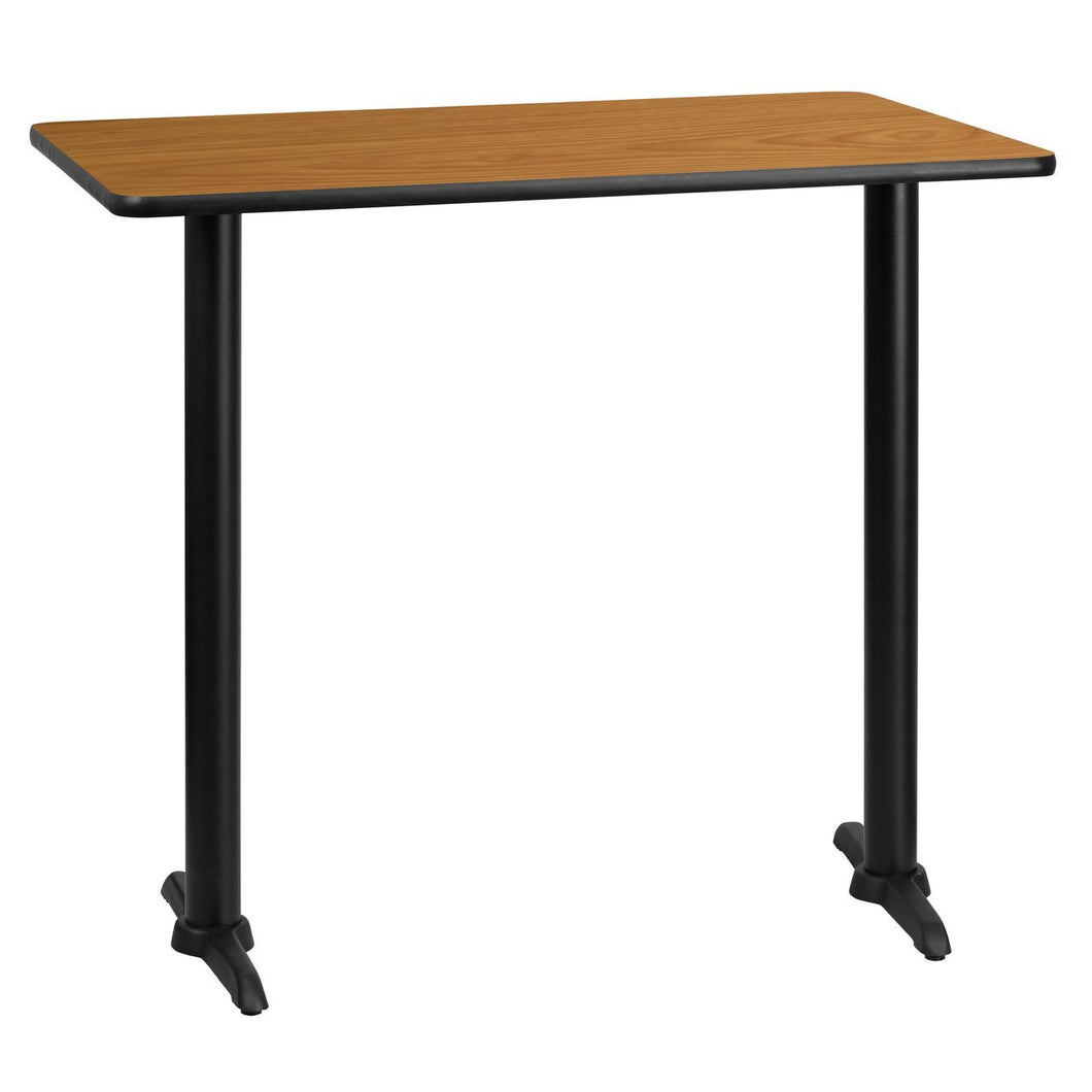 30'' x 45'' Rectangular Natural Laminate Table Top with 5'' x 22'' Bar Height Table Bases
