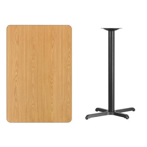 30'' x 45'' Rectangular Natural Laminate Table Top with 22'' x 30'' Bar Height Table Base