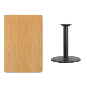 30'' x 45'' Rectangular Natural Laminate Table Top with 24'' Round Table Height Base