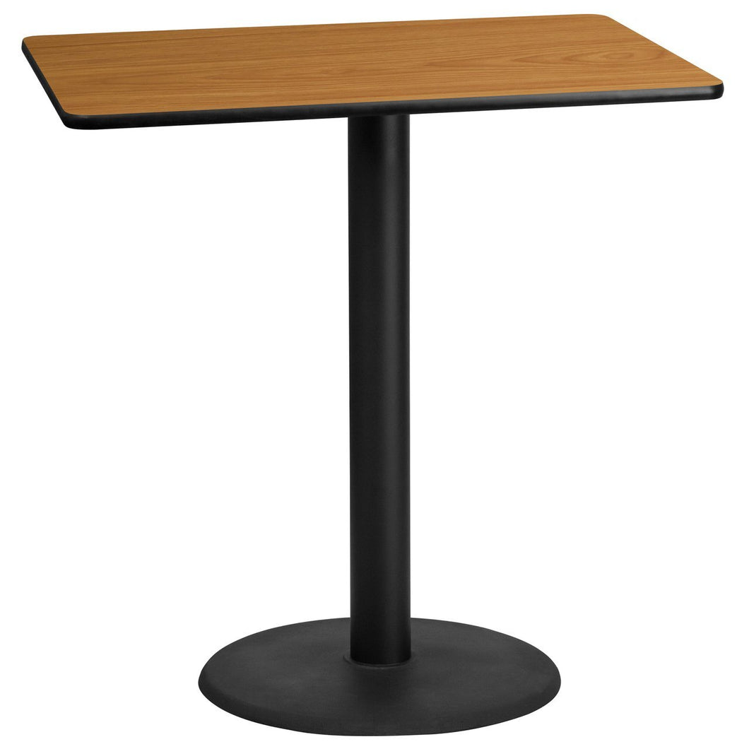 30'' x 45'' Rectangular Natural Laminate Table Top with 24'' Round Bar Height Table Base
